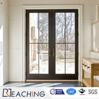 Elegant Grid Aluminum Door Hinged High Clear Double Glass for Builder