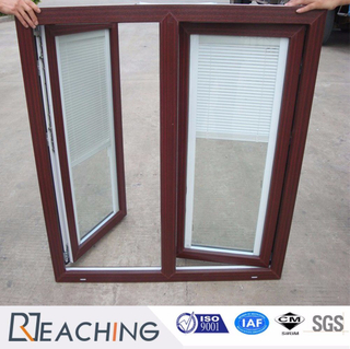 Tilt&Turn Open PVC Plastic Window with Steel Inside Wooden Color Shutter Into Glass New Design