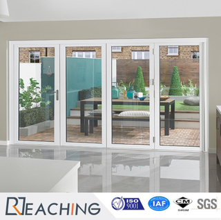 White Color 4 Leaf Folding Vinyl Glass Door Anti Heat and Noise Proof