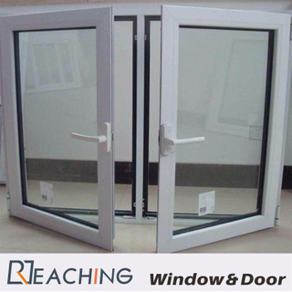 Stable Casement Aluminium Glass Windows with Moon Shape Lock Grid Mesh for Option