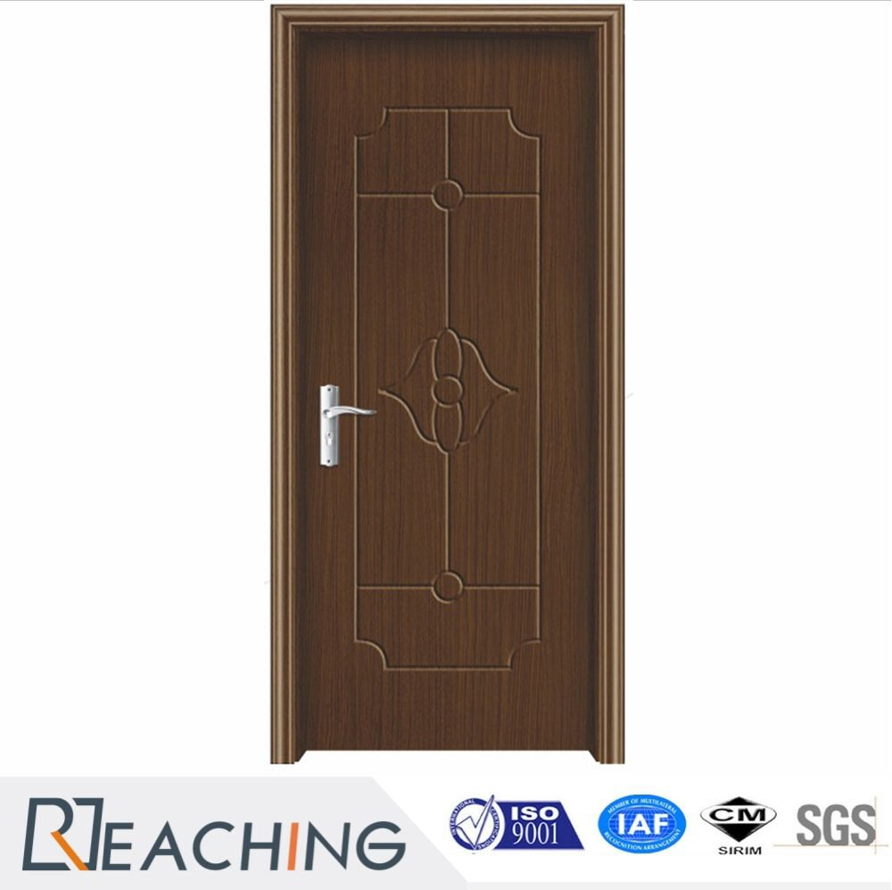 Dark Color Wood Grain PVC Door Flat Panel Finish for Hotel